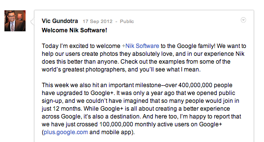 Google Plus with 100 Million Monthly Active User