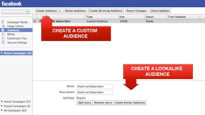 Create Custom Audience and Lookalike Audience