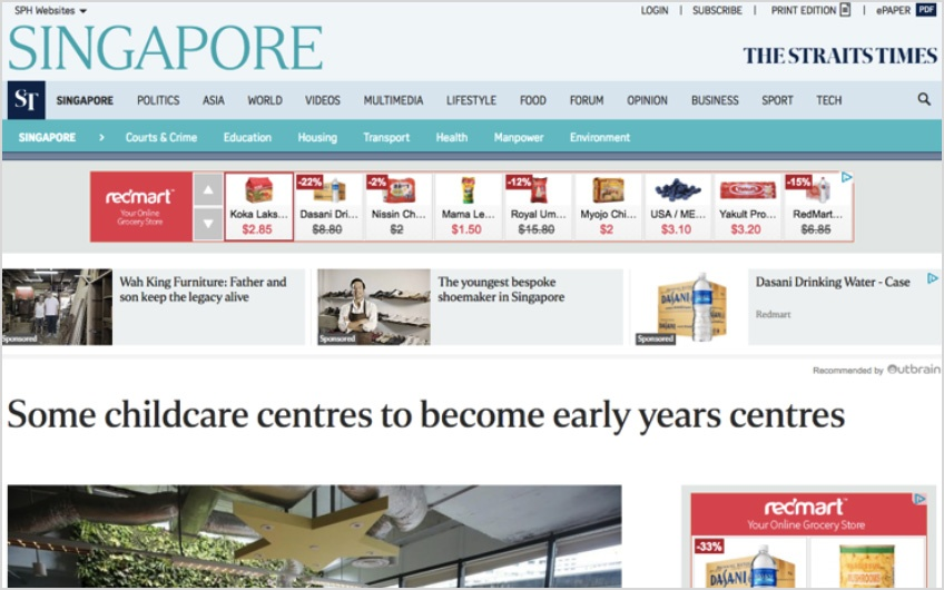 Dynamic Remarking: Redmart ad appearing on The Straits Times website